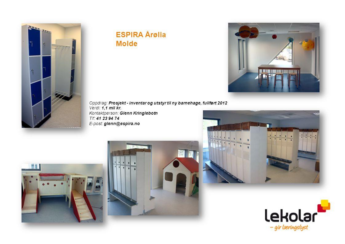 Oppdrag: Prosjekt - inventar og utstyr til ny barnehage, fullført 2012 Verdi: 1,1 mil kr. Kontaktperson: Glenn Kringlebotn Tlf: 41 23 94 74 E-post: gl