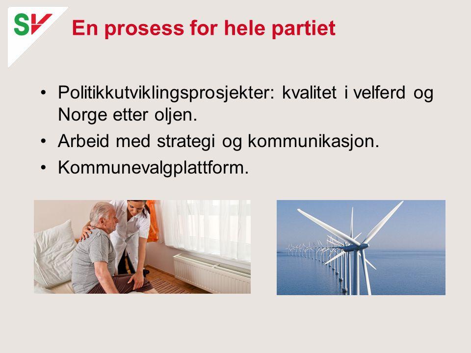 En prosess for hele partiet Politikkutviklingsprosjekter: kvalitet i velferd og Norge etter oljen.