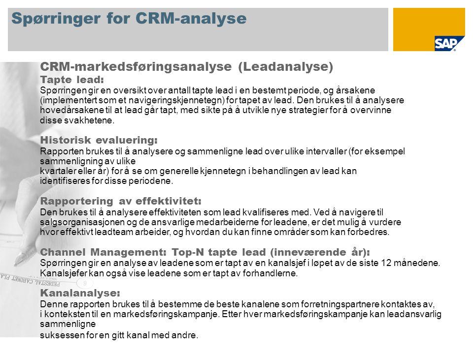 Spørringer for CRM-analyse CRM-markedsføringsanalyse (Leadanalyse) Tapte lead: Spørringen gir en oversikt over antall tapte lead i en bestemt periode, og årsakene (implementert som et navigeringskjennetegn) for tapet av lead.