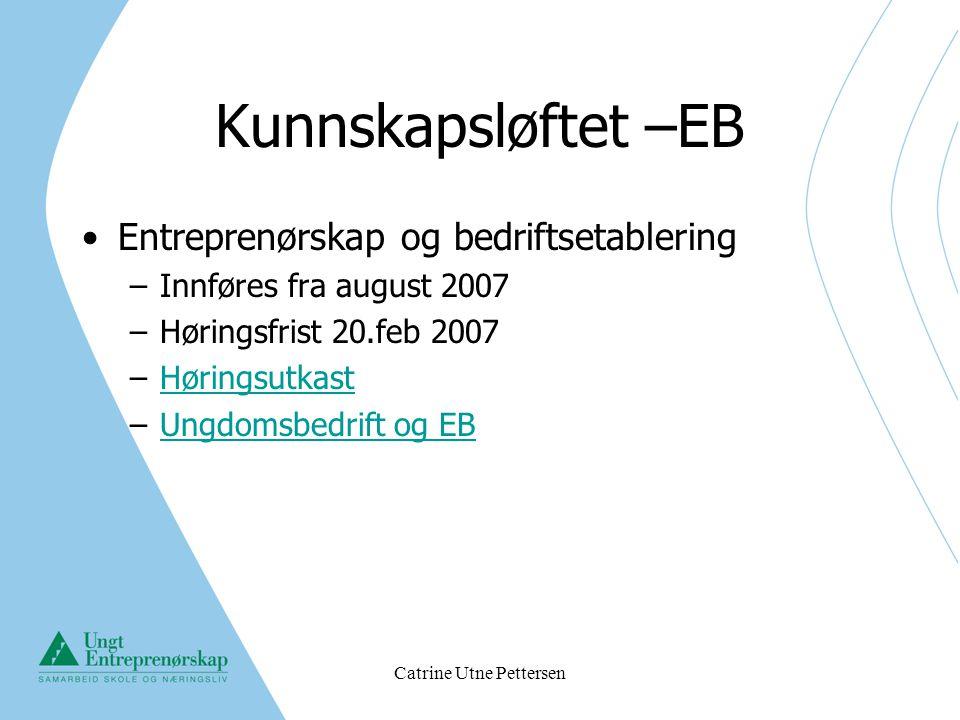 Catrine Utne Pettersen Kunnskapsløftet –EB Entreprenørskap og bedriftsetablering –Innføres fra august 2007 –Høringsfrist 20.feb 2007 –HøringsutkastHør
