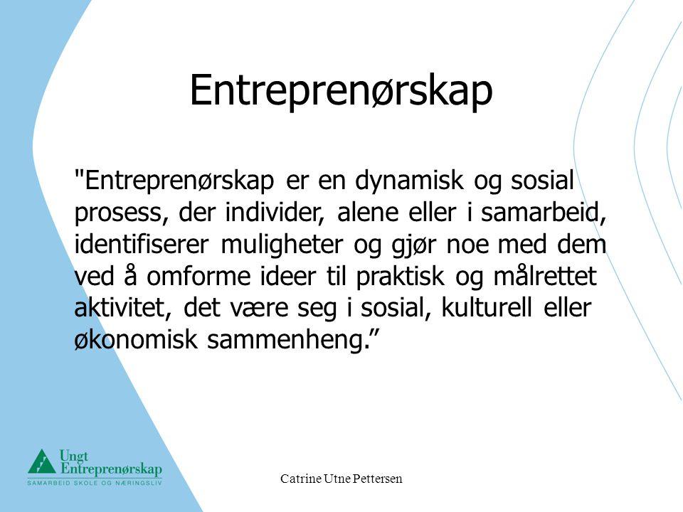 Catrine Utne Pettersen Kriterier for entreprenørskap Stimulering og utvikling av kreativitet Elevmedvirkning og aktiv læring Tverrfaglig arbeidsform Samarbeid mellom skole og lokalt samfunns- og næringsliv