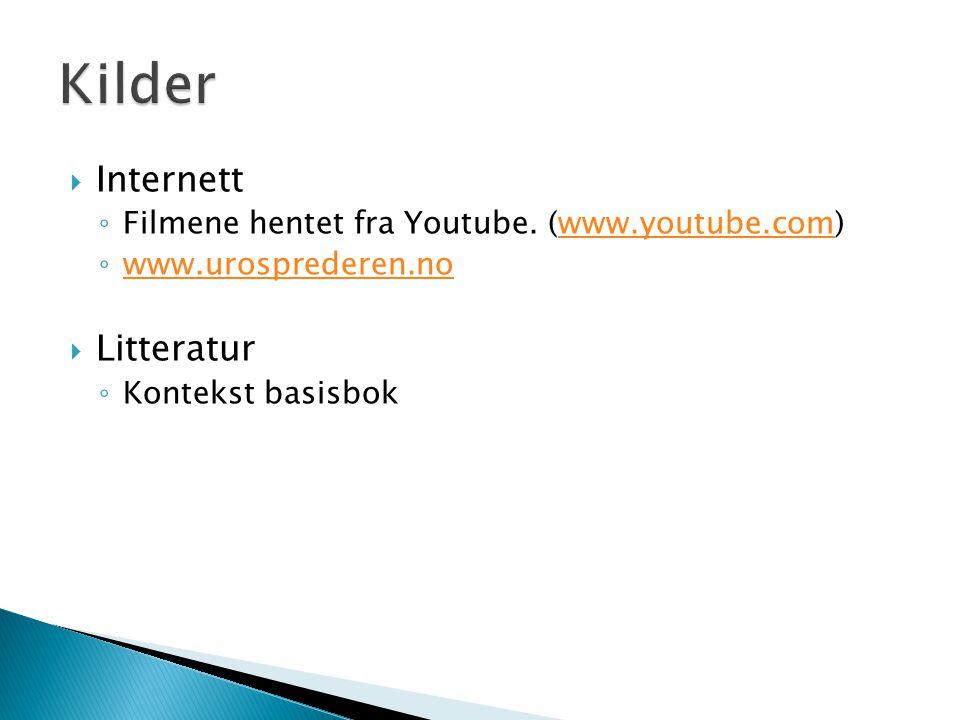  Internett ◦ Filmene hentet fra Youtube. (www.youtube.com)www.youtube.com ◦ www.urosprederen.no www.urosprederen.no  Litteratur ◦ Kontekst basisbok