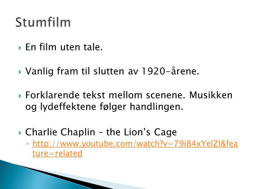  En film uten tale.  Vanlig fram til slutten av 1920-årene.  Forklarende tekst mellom scenene. Musikken og lydeffektene følger handlingen.  Charli