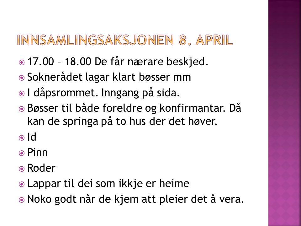  7.mai 18.00 – foreldre får invitasjon.
