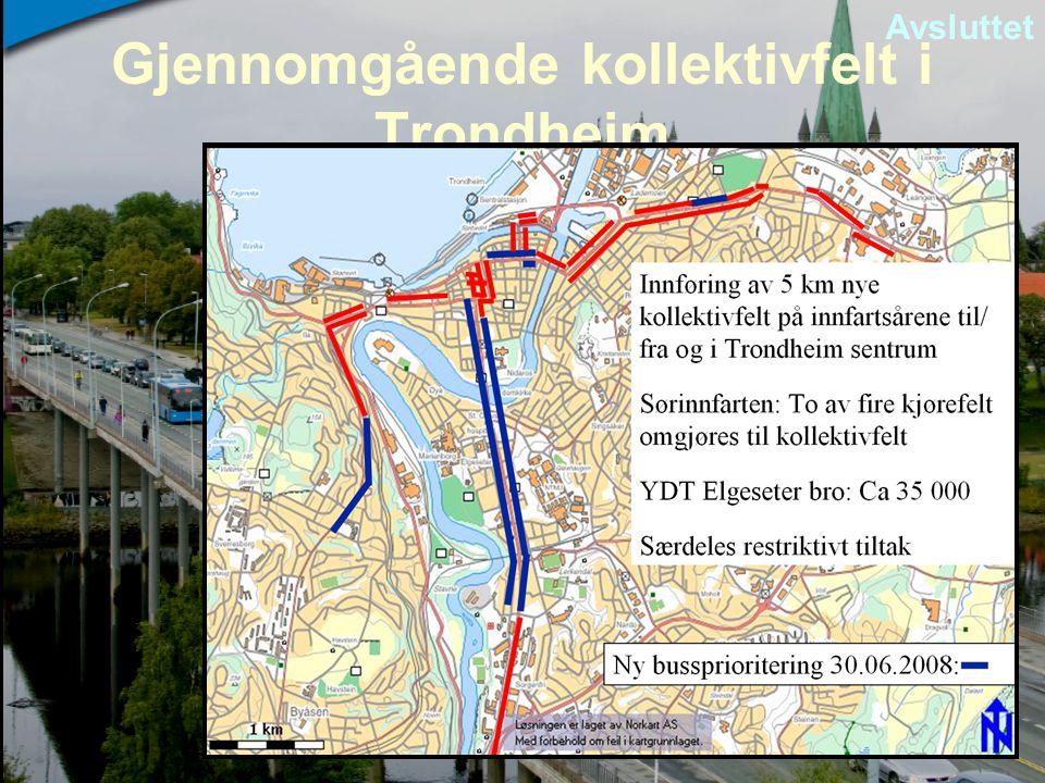 Gjennomgående kollektivfelt i Trondheim Avsluttet