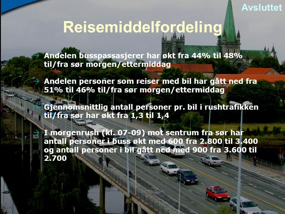 Reisemiddelfordeling  Andelen busspassasjerer har økt fra 44% til 48% til/fra sør morgen/ettermiddag  Andelen personer som reiser med bil har gått n