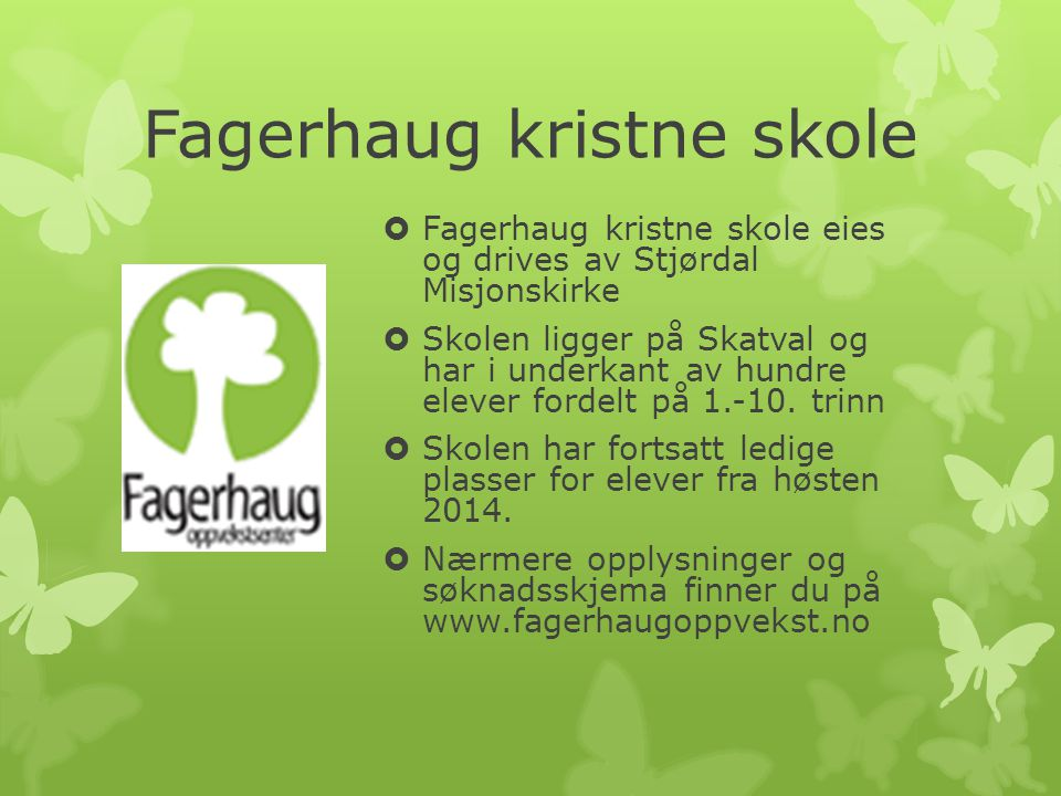 Fagerhaug international school  Fagerhaug international school (FINT) is owned by Stjørdal Misjonskirke  The school opened in August of 2013 for grades 1-5.