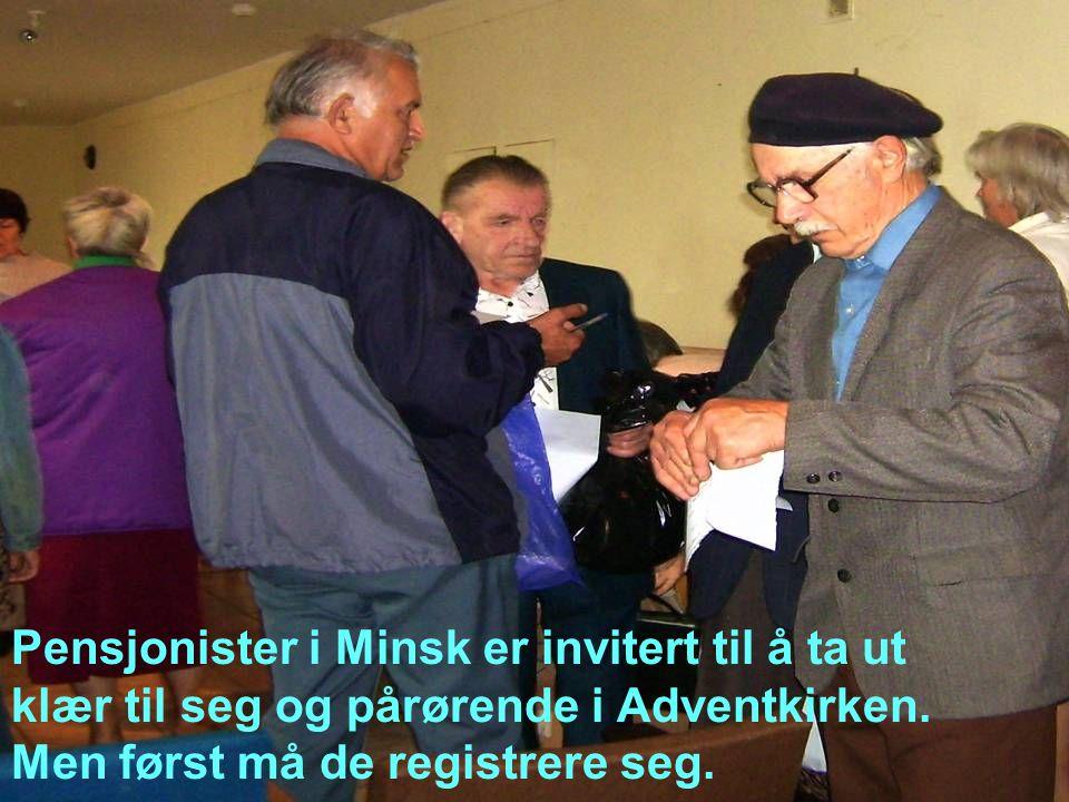 Pensjonister i Minsk er invitert til å ta ut klær til seg og pårørende i Adventkirken.