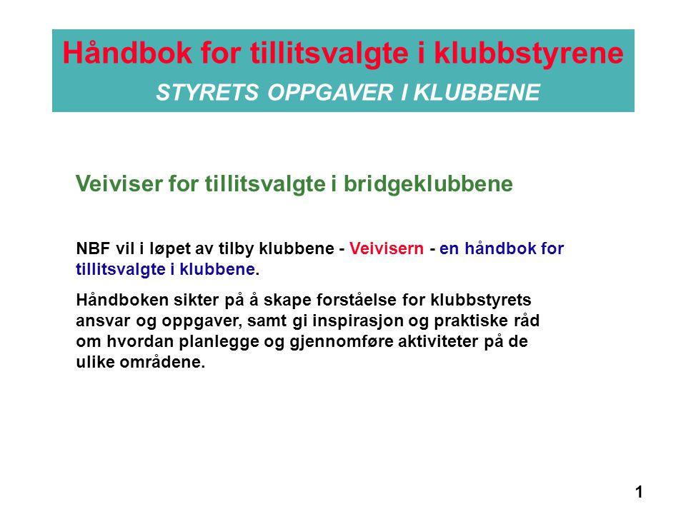 1 Håndbok for tillitsvalgte i klubbstyrene STYRETS OPPGAVER I KLUBBENE Informasjon NBF vil i løpet av tilby klubbene - Veivisern - en håndbok for tillitsvalgte i klubbene.