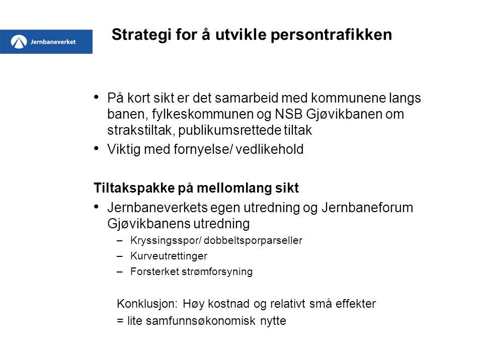 Strategi for å utvikle persontrafikken På kort sikt er det samarbeid med kommunene langs banen, fylkeskommunen og NSB Gjøvikbanen om strakstiltak, pub