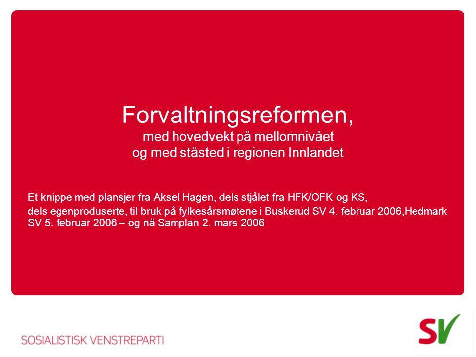 Forvaltningsreformen, med hovedvekt på mellomnivået og med ståsted i regionen Innlandet Et knippe med plansjer fra Aksel Hagen, dels stjålet fra HFK/OFK og KS, dels egenproduserte, til bruk på fylkesårsmøtene i Buskerud SV 4.