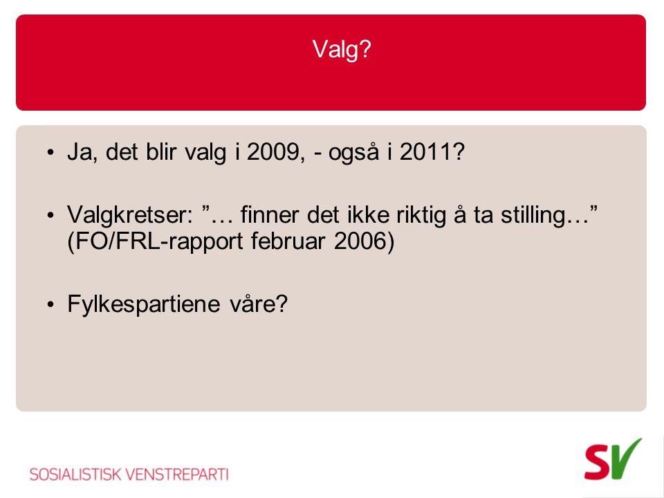 Valg.Ja, det blir valg i 2009, - også i 2011.