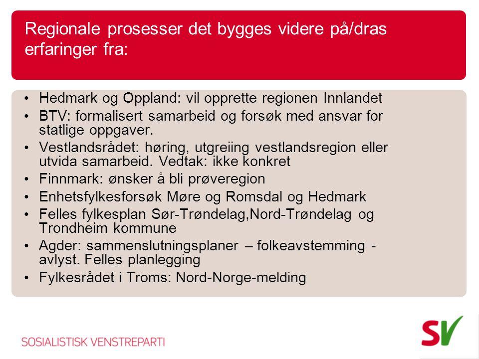 Regionale prosesser det bygges videre på/dras erfaringer fra: Hedmark og Oppland: vil opprette regionen Innlandet BTV: formalisert samarbeid og forsøk med ansvar for statlige oppgaver.