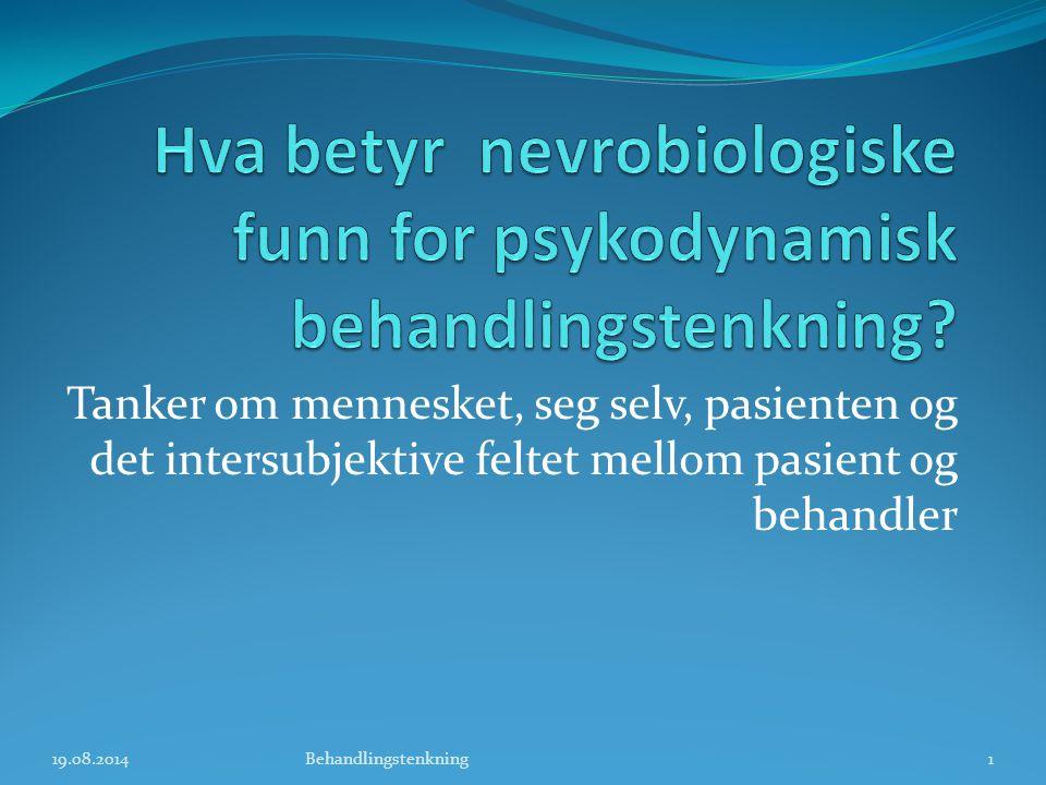 Behandlingsrelasjon og motivasjon Terapeutisk relasjon Felles metode for å Oppnå målet Emosjonell tilknytning mellom behandler og pasient Felles mål 19.08.201412