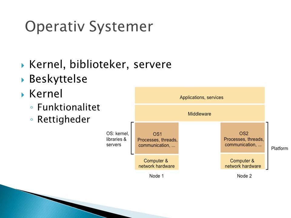  Kernel, biblioteker, servere  Beskyttelse  Kernel ◦ Funktionalitet ◦ Rettigheder Operativ Systemer