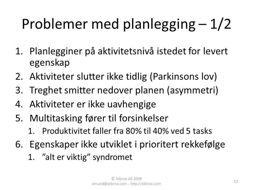 Problemer med planlegging – 1/2 1.Planlegginer på aktivitetsnivå istedet for levert egenskap 2.Aktiviteter slutter ikke tidlig (Parkinsons lov) 3.Treg