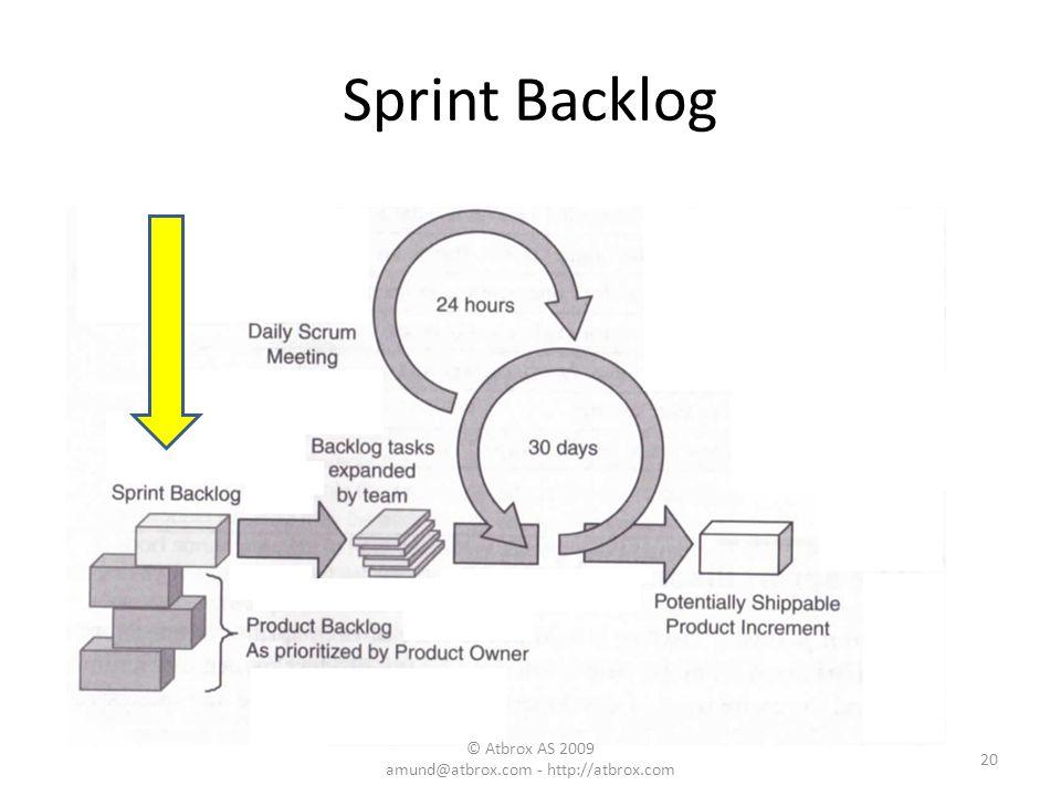 Sprint Backlog 20 © Atbrox AS 2009 amund@atbrox.com - http://atbrox.com