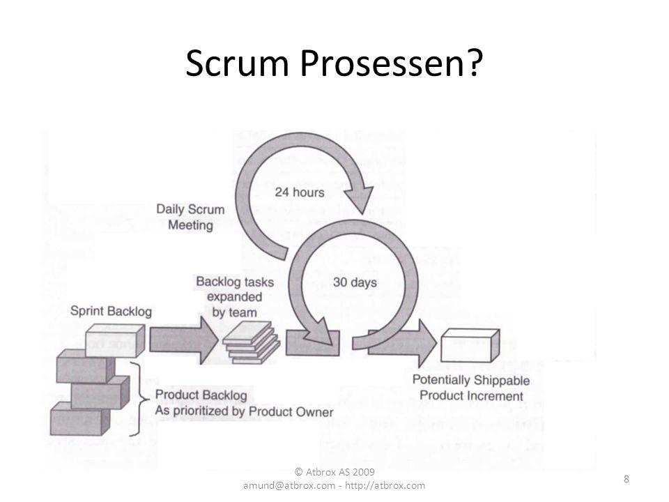 Scrum Prosessen? 8 © Atbrox AS 2009 amund@atbrox.com - http://atbrox.com