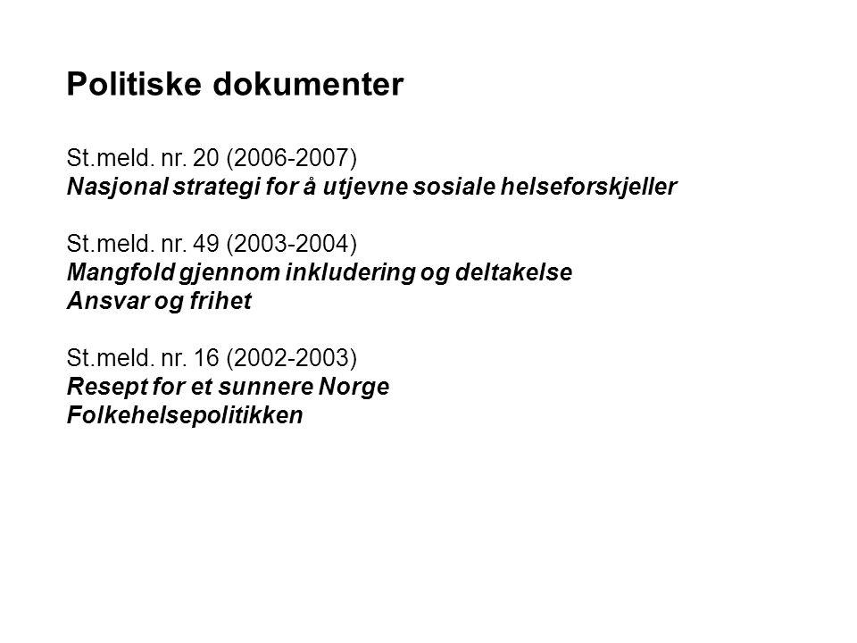 Politiske dokumenter St.meld.nr.