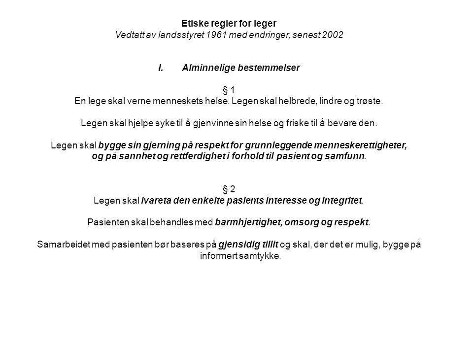 Yrkesetiske retningslinjer for sykepleiere 1.