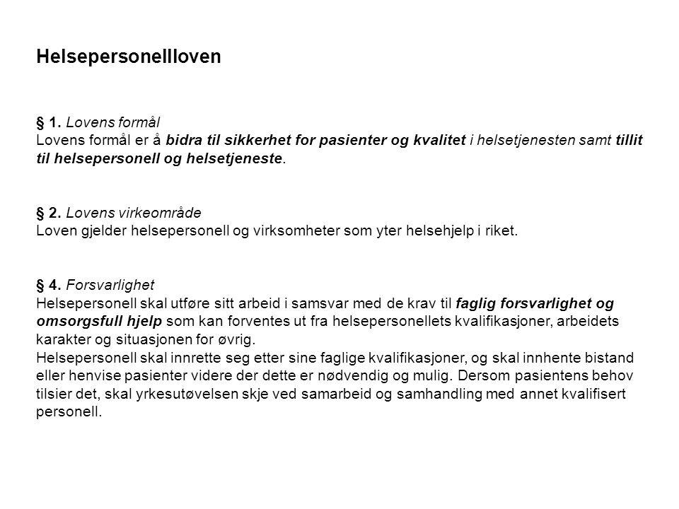 Helsepersonellloven § 1.