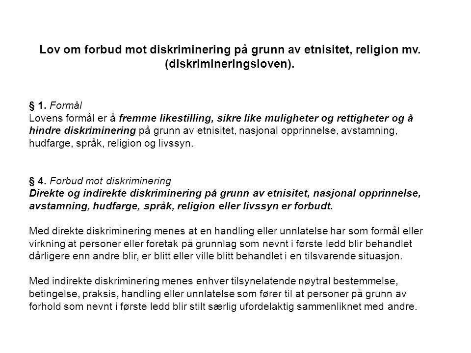 Lov om forbud mot diskriminering på grunn av etnisitet, religion mv.