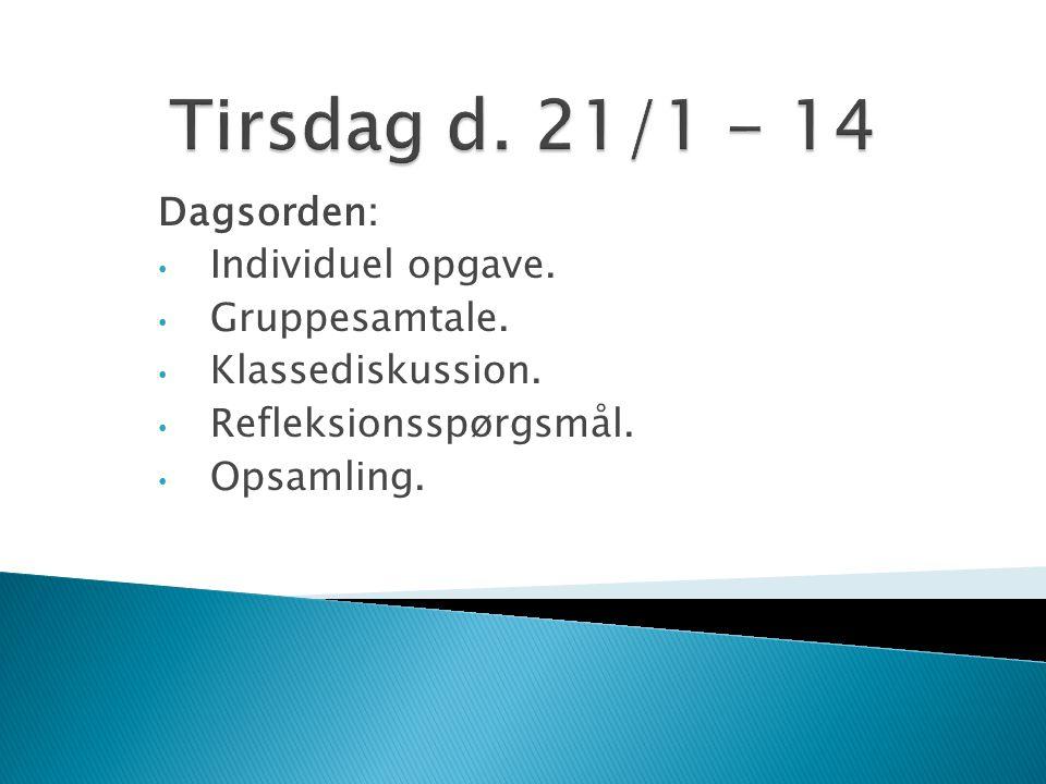 Dagsorden: Individuel opgave. Gruppesamtale. Klassediskussion. Refleksionsspørgsmål. Opsamling.