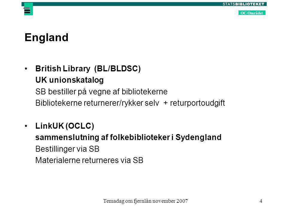 OC-Området Temadag om fjernlån november 20074 England British Library (BL/BLDSC) UK unionskatalog SB bestiller på vegne af bibliotekerne Bibliotekerne returnerer/rykker selv + returportoudgift LinkUK (OCLC) sammenslutning af folkebiblioteker i Sydengland Bestillinger via SB Materialerne returneres via SB