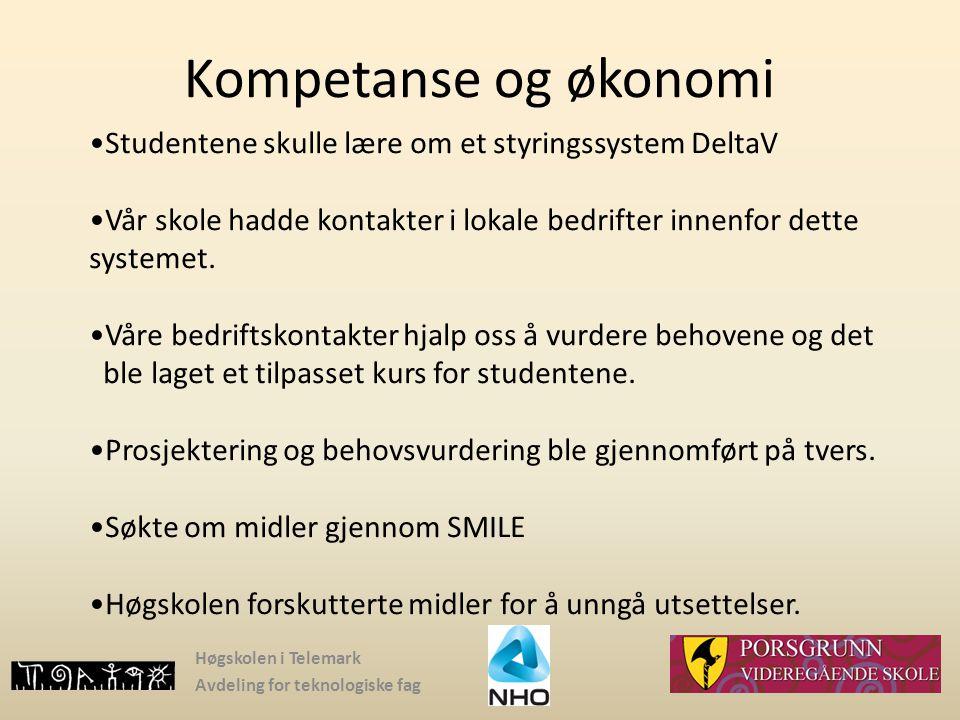 Høgskolen i Telemark Avdeling for teknologiske fag Kompetanse og økonomi Studentene skulle lære om et styringssystem DeltaV Vår skole hadde kontakter