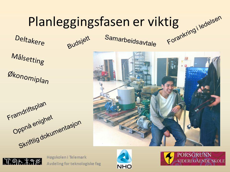 Høgskolen i Telemark Avdeling for teknologiske fag Planleggingsfasen er viktig Deltakere Målsetting Økonomiplan Forankring i ledelsen Framdriftsplan O