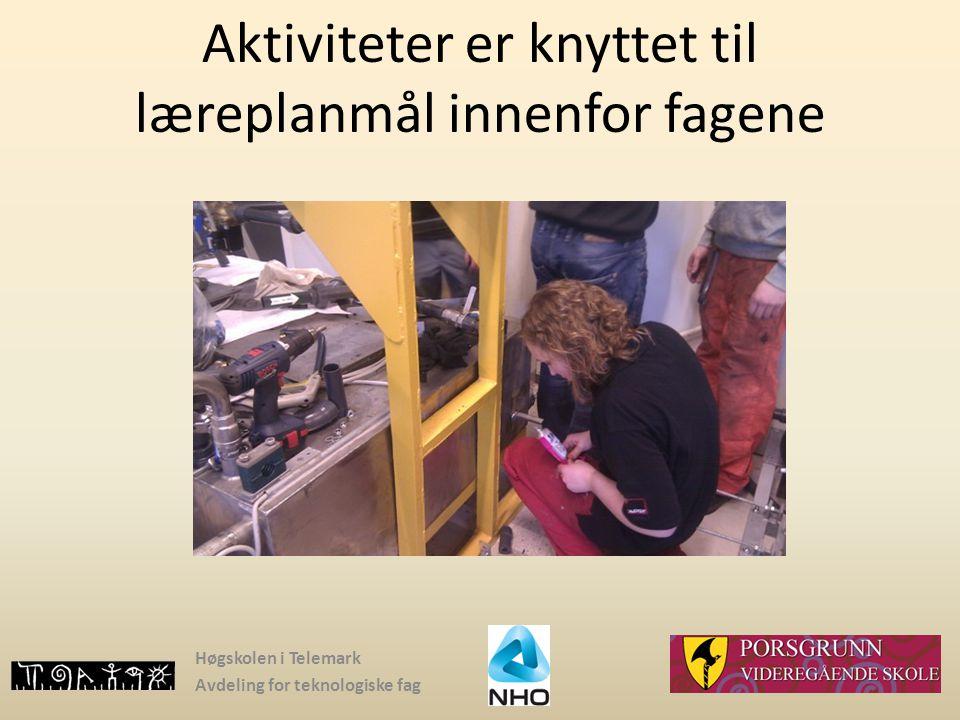 Høgskolen i Telemark Avdeling for teknologiske fag Aktiviteter er knyttet til læreplanmål innenfor fagene