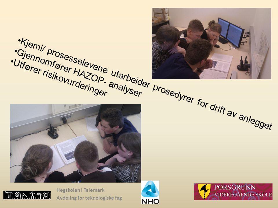 Høgskolen i Telemark Avdeling for teknologiske fag Kjemi/ prosesselevene utarbeider prosedyrer for drift av anlegget Gjennomfører HAZOP- analyser Utfø