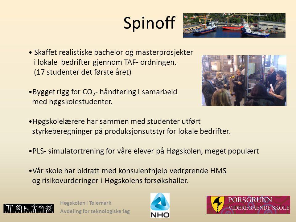 Høgskolen i Telemark Avdeling for teknologiske fag Spinoff Skaffet realistiske bachelor og masterprosjekter i lokale bedrifter gjennom TAF- ordningen.