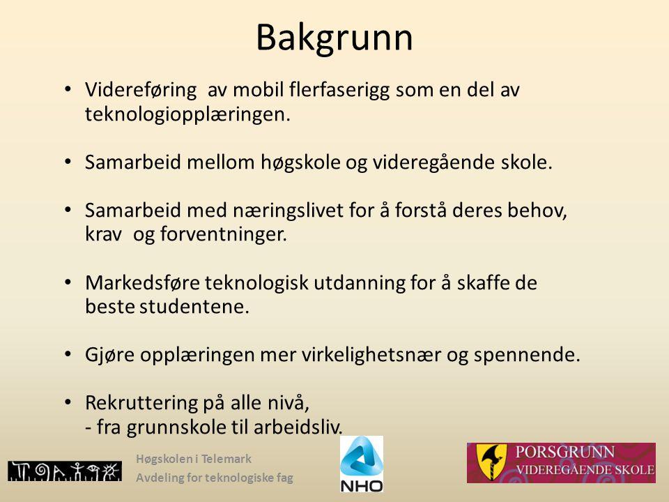 Høgskolen i Telemark Avdeling for teknologiske fag Bakgrunn Videreføring av mobil flerfaserigg som en del av teknologiopplæringen. Samarbeid mellom hø