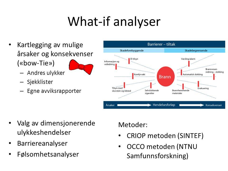 What-if analyser Kartlegging av mulige årsaker og konsekvenser («bow-Tie») – Andres ulykker – Sjekklister – Egne avviksrapporter Valg av dimensjonerende ulykkeshendelser Barriereanalyser Følsomhetsanalyser Metoder: CRIOP metoden (SINTEF) OCCO metoden (NTNU Samfunnsforskning)