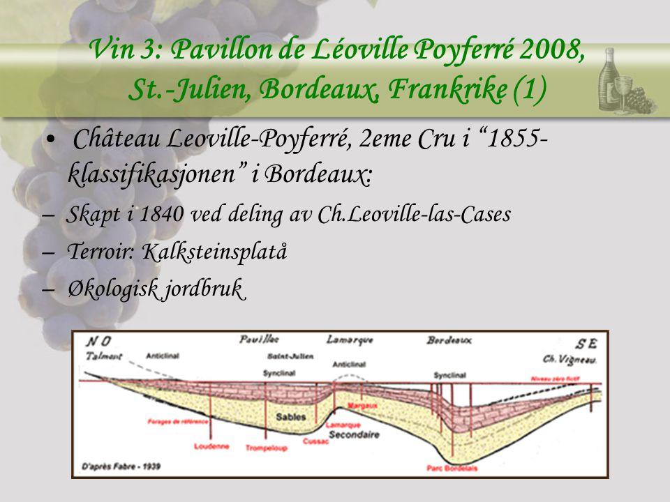 Vin 3: Pavillon de Léoville Poyferré 2008, St.-Julien, Bordeaux, Frankrike (1) Château Leoville-Poyferré, 2eme Cru i 1855- klassifikasjonen i Bordeaux: –Skapt i 1840 ved deling av Ch.Leoville-las-Cases –Terroir: Kalksteinsplatå –Økologisk jordbruk