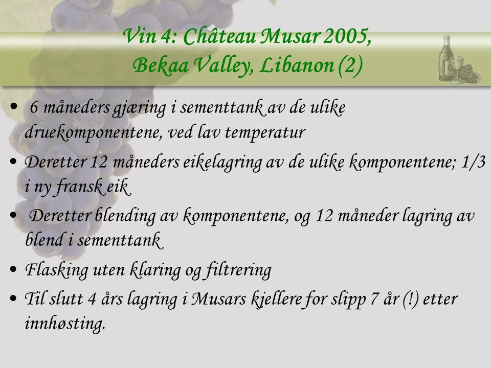Vin 4: Château Musar 2005, Bekaa Valley, Libanon (2) 6 måneders gjæring i sementtank av de ulike druekomponentene, ved lav temperatur Deretter 12 måneders eikelagring av de ulike komponentene; 1/3 i ny fransk eik Deretter blending av komponentene, og 12 måneder lagring av blend i sementtank Flasking uten klaring og filtrering Til slutt 4 års lagring i Musars kjellere for slipp 7 år (!) etter innhøsting.