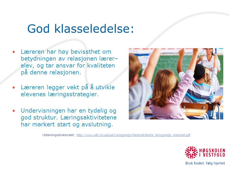 God klasseledelse: Læreren har høy bevissthet om betydningen av relasjonen lærer– elev, og tar ansvar for kvaliteten på denne relasjonen. Læreren legg