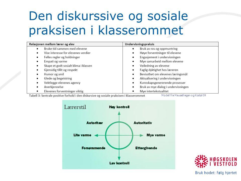 Den diskurssive og sosiale praksisen i klasserommet Modell fra Mausethagen og Kostøl 09