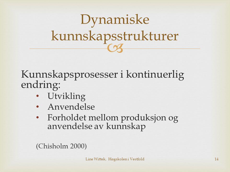  Dynamiske kunnskapsstrukturer Kunnskapsprosesser i kontinuerlig endring: Utvikling Anvendelse Forholdet mellom produksjon og anvendelse av kunnskap