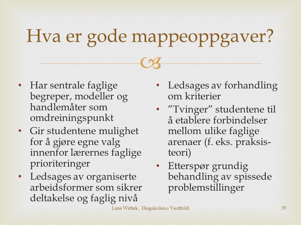  Line Wittek, Høgskolen i Vestfold29 Hva er gode mappeoppgaver? Har sentrale faglige begreper, modeller og handlemåter som omdreiningspunkt Gir stude