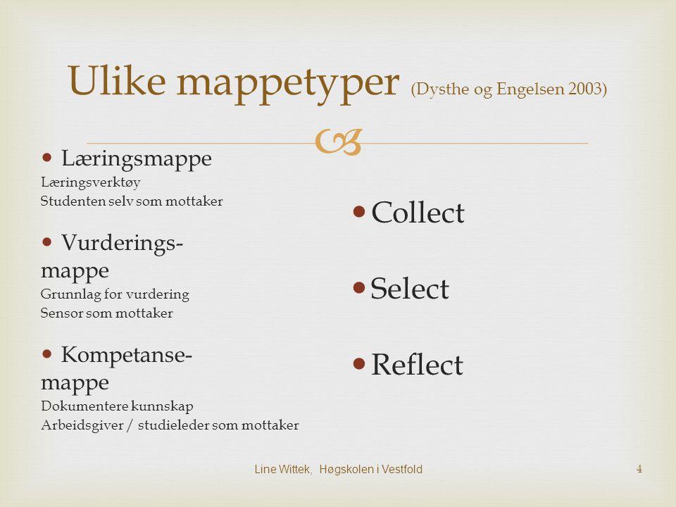 Line Wittek, Høgskolen i Vestfold 5 En mappemodell (Engelsen og Dysthe 2003) Enkeltarbeid  Samle- mappe summativ vurdering Refleksjon, Formativ vurdering,Variert aktivitet, Samarbeid, Kameratvurdering, Egenvurdering Utvalg med begrunn else Vurde rings- mappe