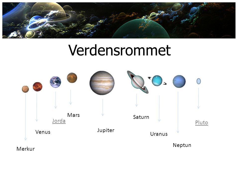 Verdensrommet Merkur Venus Jorda Mars Neptun Uranus Saturn Jupiter Pluto