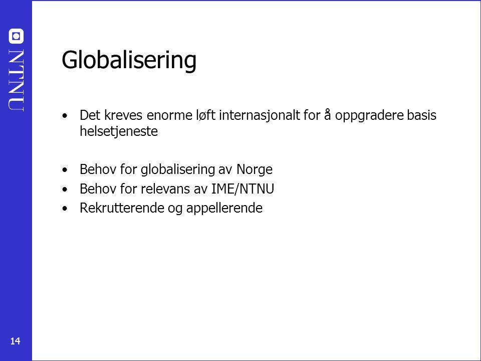 14 Globalisering Det kreves enorme løft internasjonalt for å oppgradere basis helsetjeneste Behov for globalisering av Norge Behov for relevans av IME