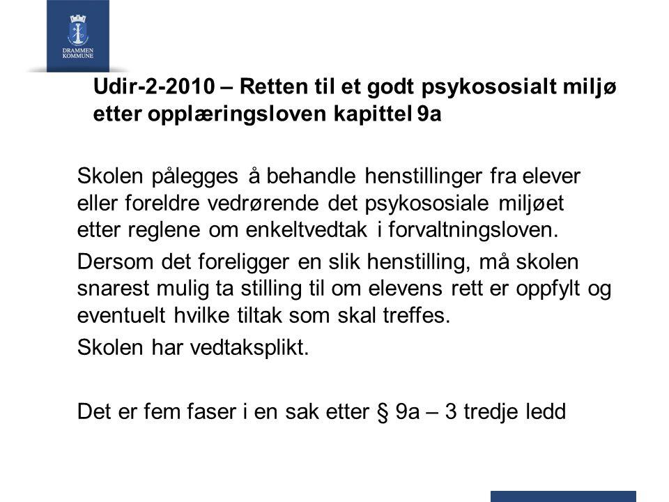 Udir-2-2010 – Retten til et godt psykososialt miljø etter opplæringsloven kapittel 9a Skolen pålegges å behandle henstillinger fra elever eller foreld