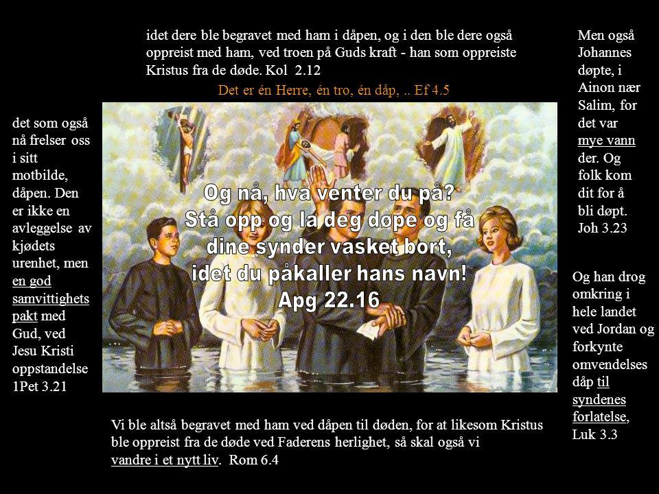 Og han drog omkring i hele landet ved Jordan og forkynte omvendelses dåp til syndenes forlatelse, Luk 3.3 Det er én Herre, én tro, én dåp,.. Ef 4.5 Vi