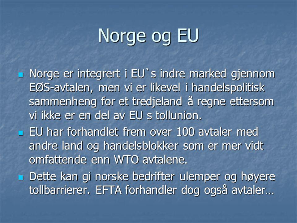 Norge og EU Norge er integrert i EU`s indre marked gjennom EØS-avtalen, men vi er likevel i handelspolitisk sammenheng for et tredjeland å regne etter