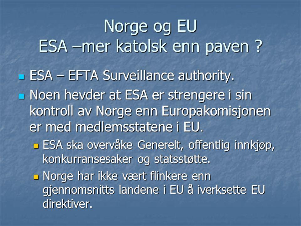 Norge og EU ESA –mer katolsk enn paven ? ESA – EFTA Surveillance authority. ESA – EFTA Surveillance authority. Noen hevder at ESA er strengere i sin k