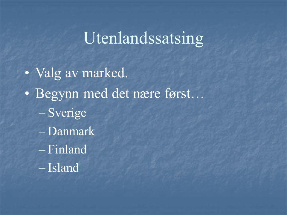 Utenlandssatsing Valg av marked. Begynn med det nære først… –Sverige –Danmark –Finland –Island