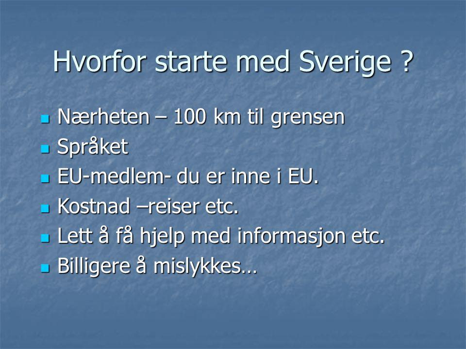 Hvorfor starte med Sverige ? Nærheten – 100 km til grensen Nærheten – 100 km til grensen Språket Språket EU-medlem- du er inne i EU. EU-medlem- du er